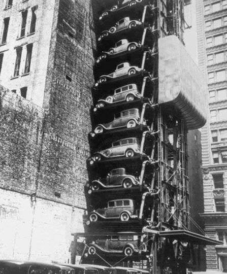 64 Historical Pictures you most likely haven't seen before. # 8 is a bit disturbing! - Parking System in New York, 1930
