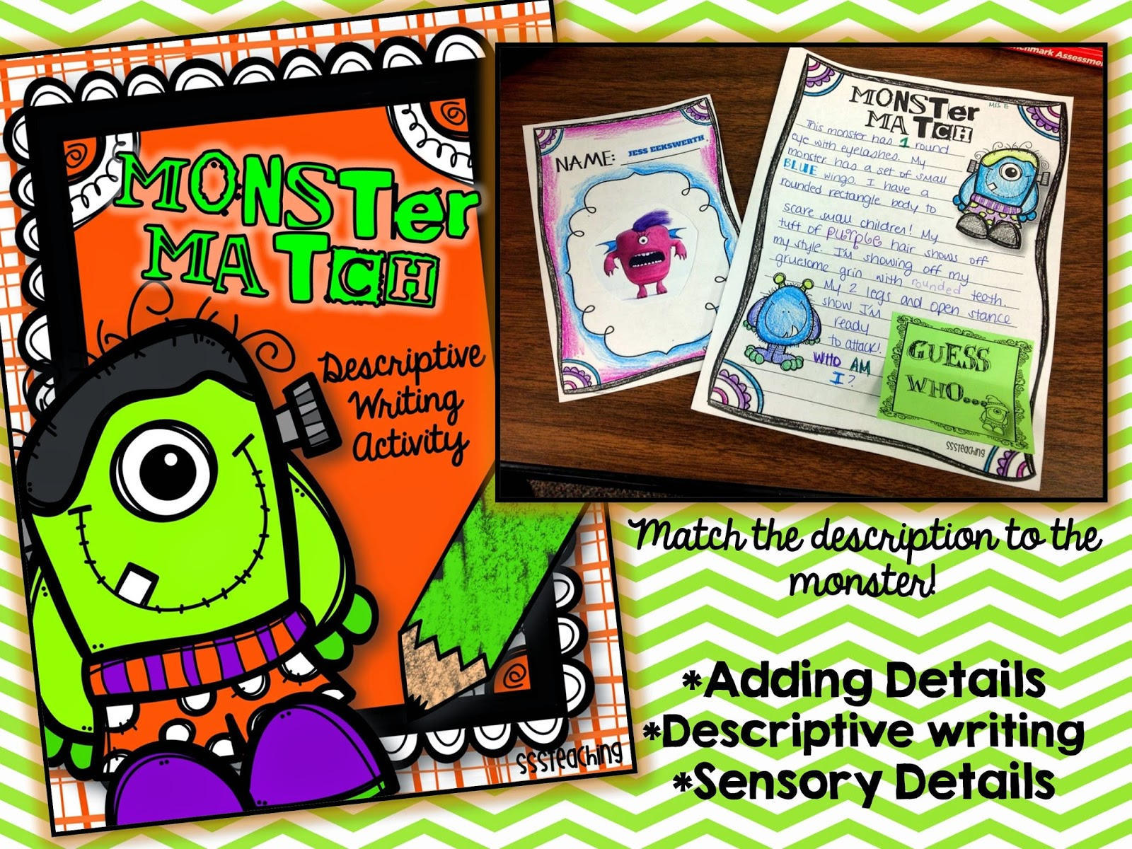 descriptive writing monster match sssteaching the monster pages and writing templates are all included along a rubric directions and monster templates if you don t want to use the website