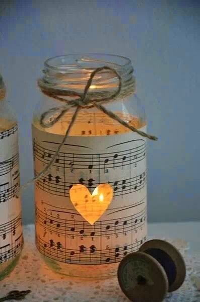 DIY mason jar and sheet music paper candle
