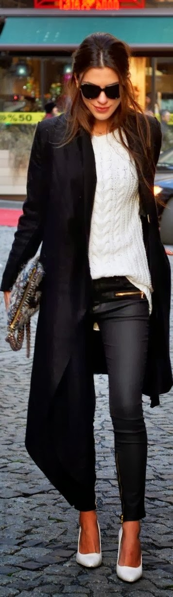 Long coat with white sweater tight pant and high heel