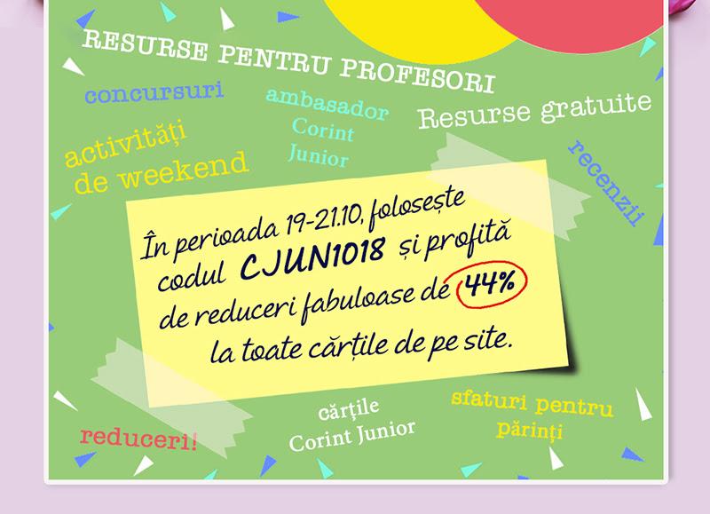 Noul site Corint Junior. Reduceri fabuloase în perioada 19-21 octombrie!