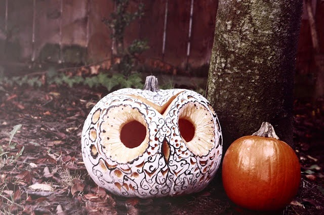 http://amoderndame.blogspot.ca/2012/11/my-very-1st-diy-decorative-owl-pumpkin.html?showComment=1353942870009