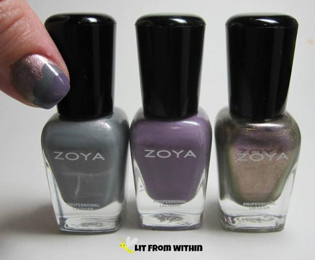 Bottle shot:  Zoya Mini Temperance, Violet, and Marion.