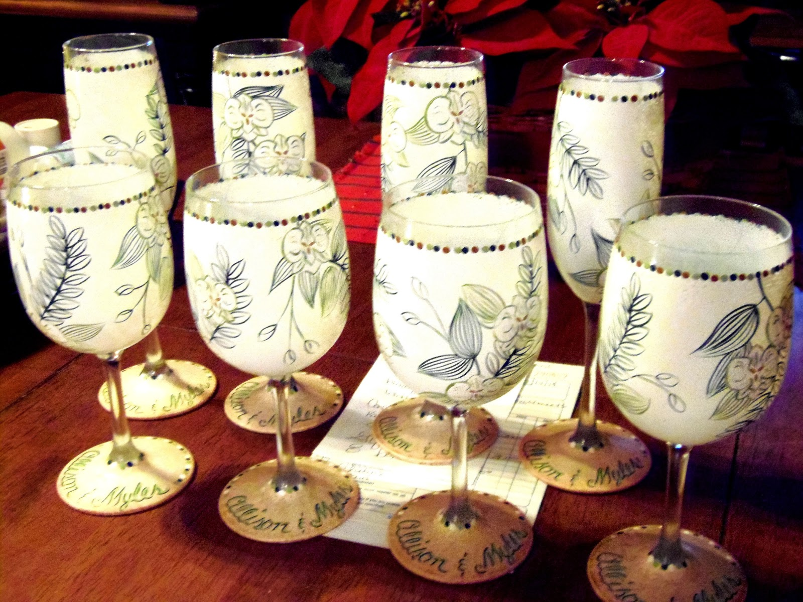 Custom Hawaiian Wedding Invitation wine glasses and champagne flutes via www.kudoskitchenbyrenee.wazala.com