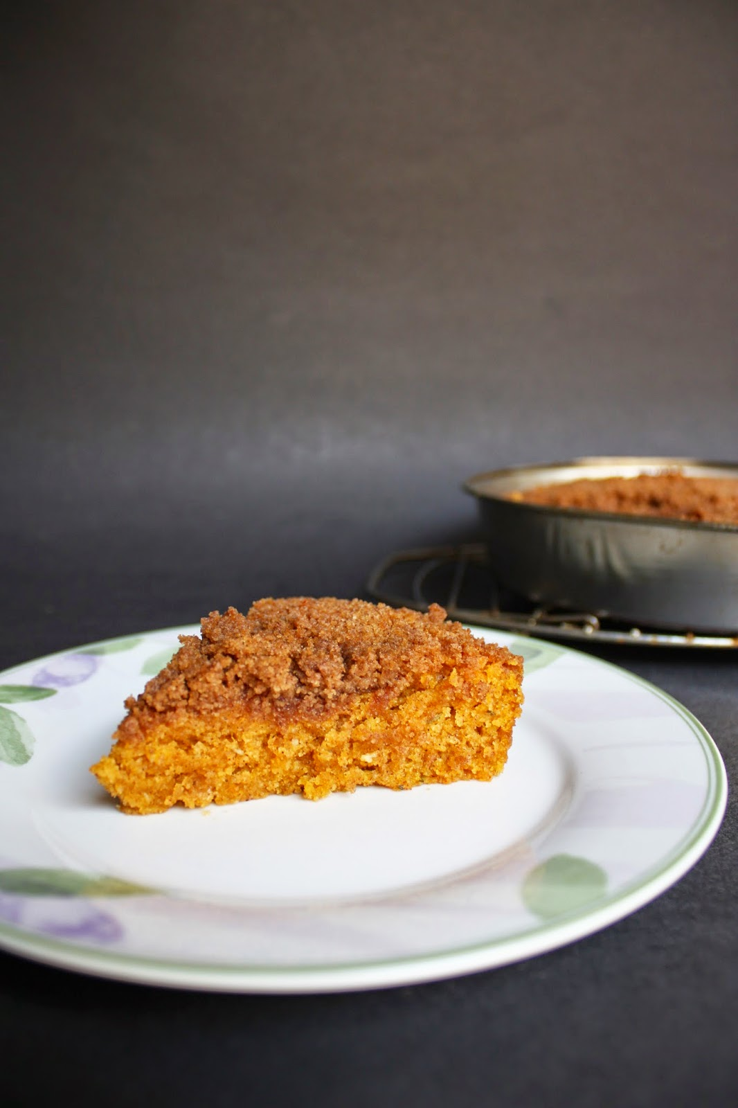 vegan pumpkin coffee cake with rosemary, cornmeal, and cinnamon crumble
