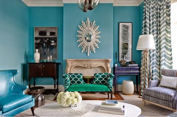 Inspiration turquoise pour vos salons d coration salon - Salon turquoise ...