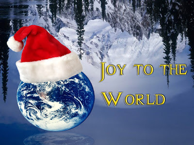 Joy to the World (Earth with Christmas hat)