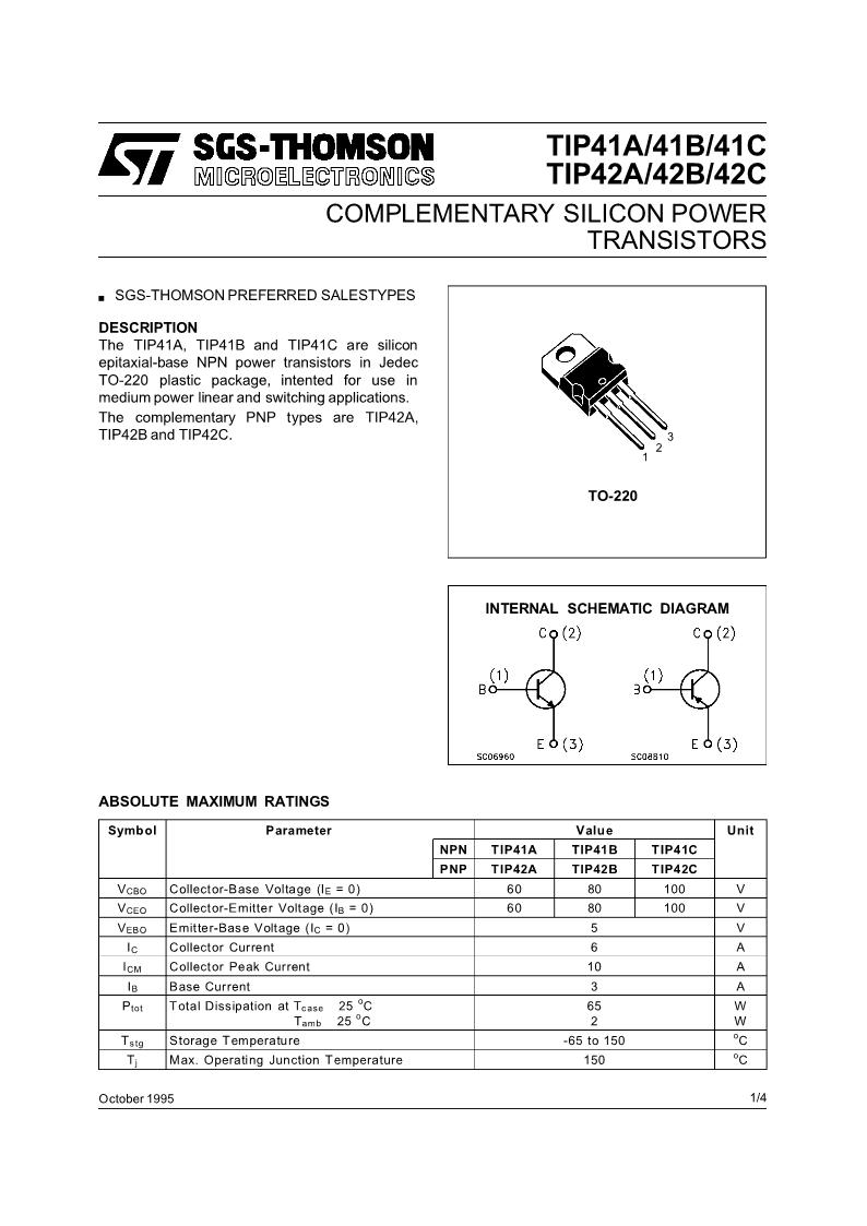 Tip41npn Tip42pnp Complimentary Transistor Datasheet