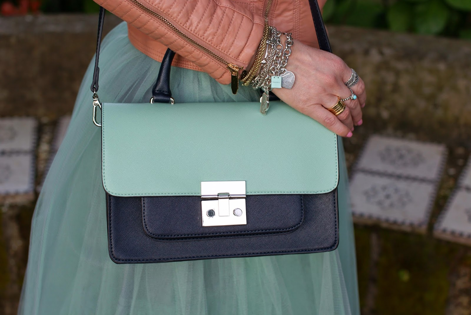 Zara bicolor bag, Miu Miu inspired bag, bvlgari ring, Fashion and Cookies, fashion blogger