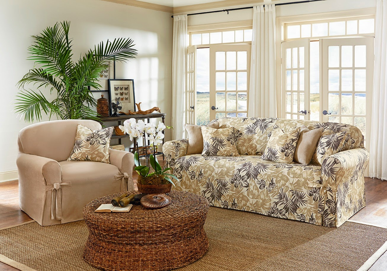 sure fit slipcovers leafy breezy easy tropical floral