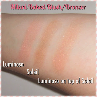 milani luminoso and soleil swatch