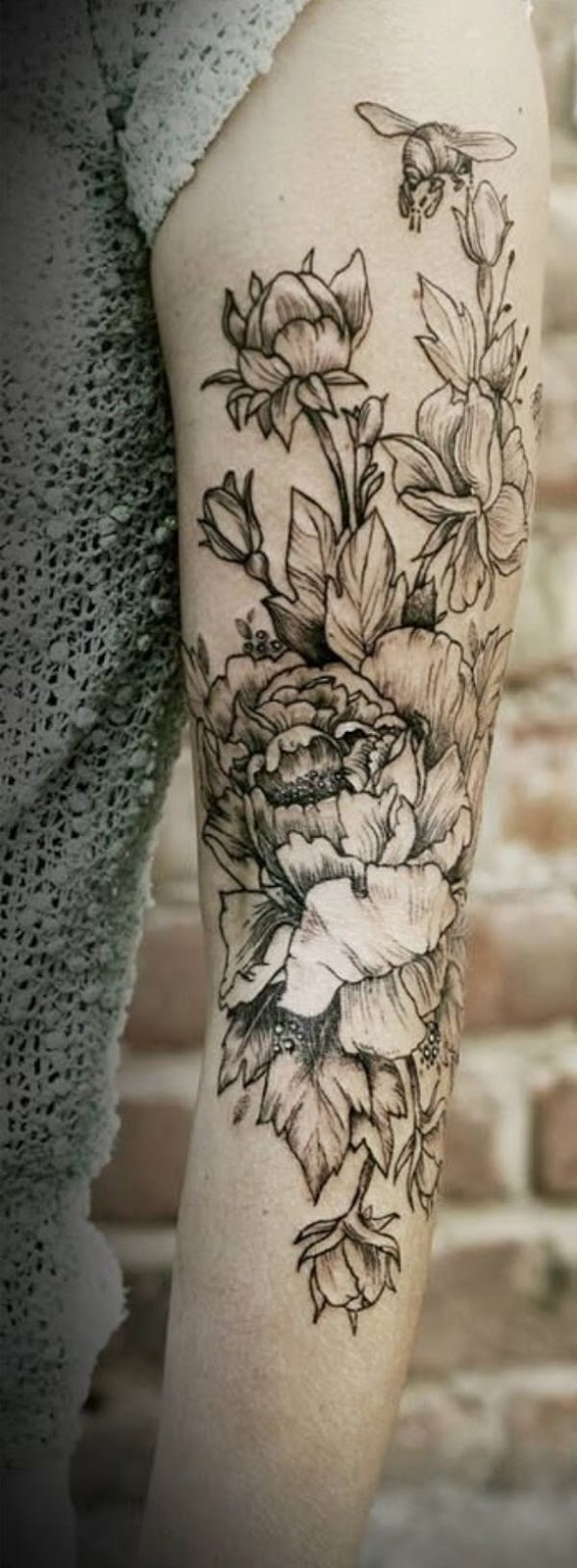 Black and white floral arm tattoo: Tattoo Trends - Flowers