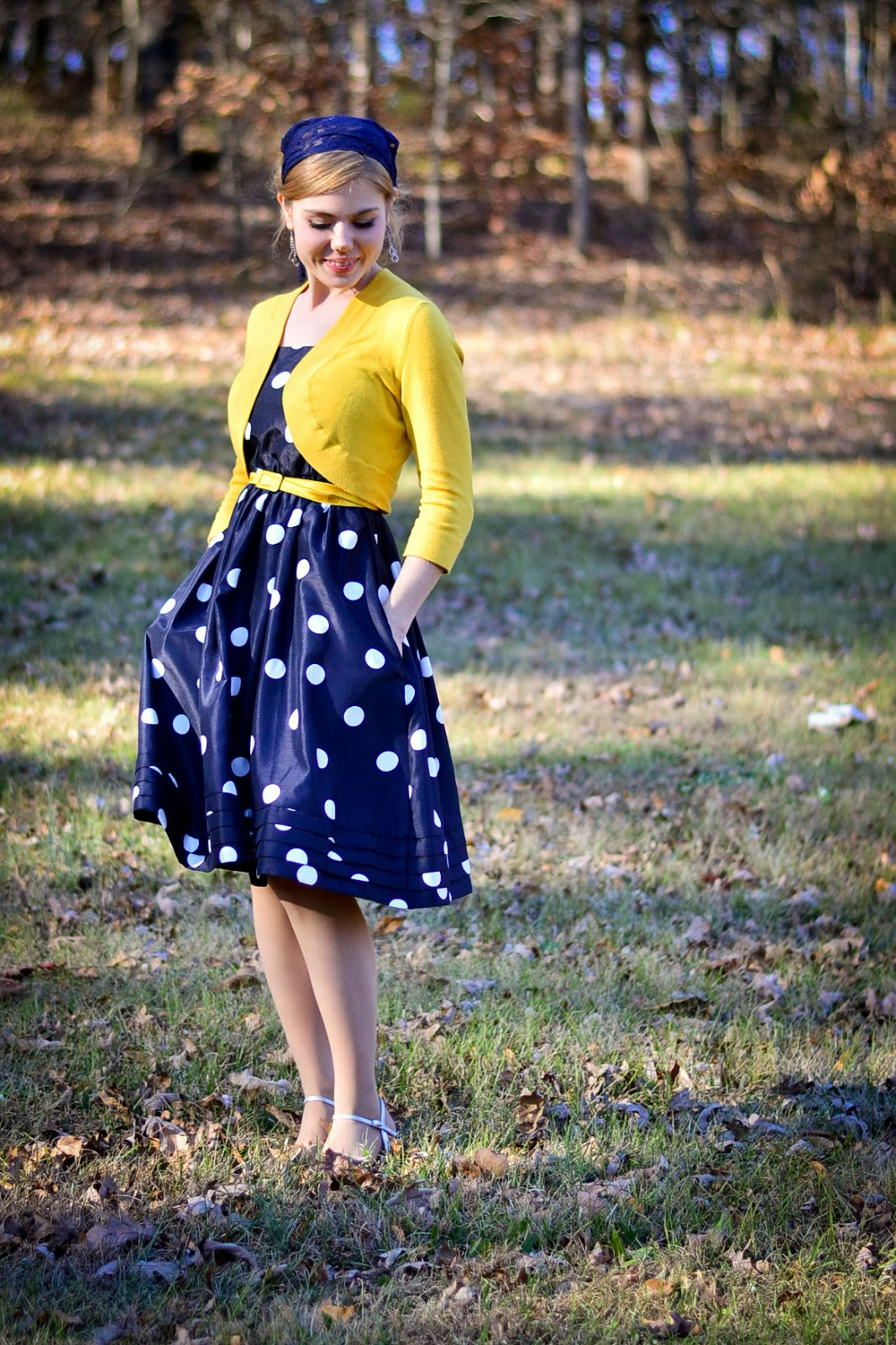 Fresh Modesty Law + Gospel // in Navy Blue Polkadots and Yellow!