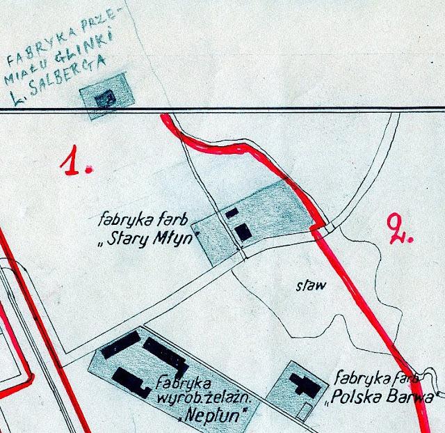 Końskie, lokalizacja fabryk: Stary Młyn, Polska Farba i fabryka przemiału glinki L. Salberga. Mapa pochodzi z 1939 r. w zbiorach Krzysztofa Dorcza.