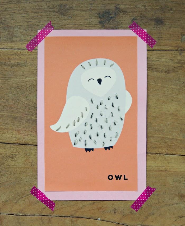 ommeltu kortti pöllö, uggla, washi tape pink
