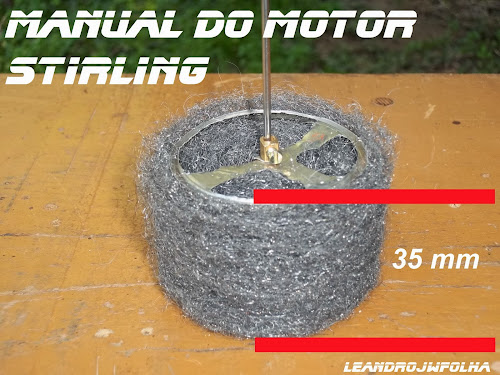 Manual do motor Stirling, medida do pistão deslocador