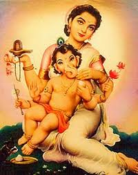 bal ganesh with mummy parvati