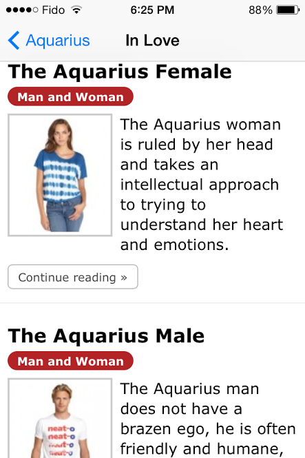 Aquarius Woman and Man - an app for the iPhone