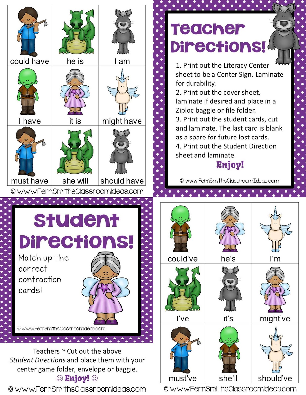 Fern's Freebie Friday ~ Fairy Tale Themed Contraction Center Game at TeachersPayTeachers.