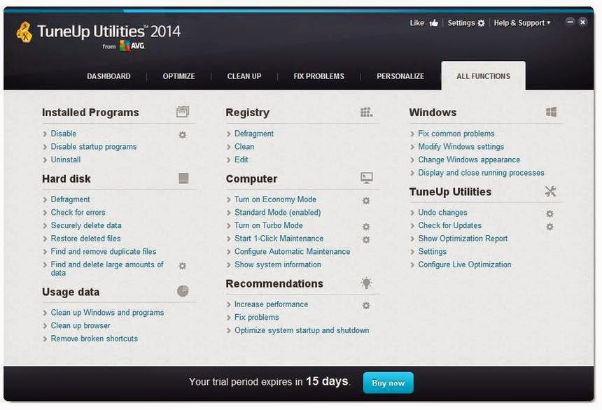 TuneUp Utilities 2014 is a collection of tools for cleaning up, optimising, repairing, customising, and frequently receiving the maximum feasible performance from your Pc