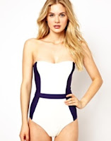 ASOS bandeau swimsuit white with navy panels