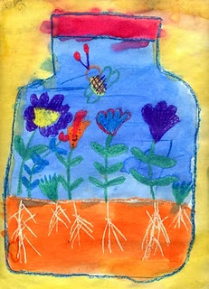 kid's drawing of bugs and flowers in a jar