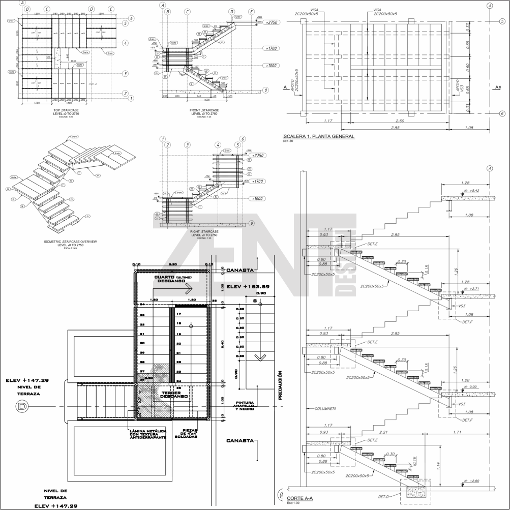 Zent design 2d escaleras metalicas planos for Escaleras metalicas planos