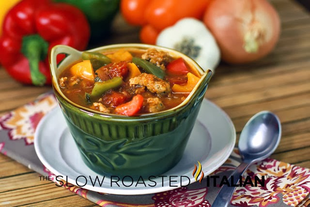 http://www.theslowroasteditalian.com/2013/10/italian-sausage-and-pepper-soup-30-minutes.html