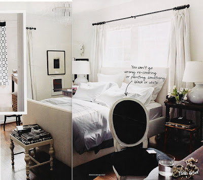 black and white bedroom inspiration from domino magazine