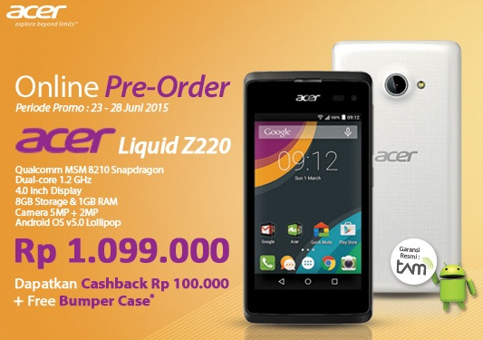 Acer Liquid Z220 Smartphone Murah Android Lollipop Promo