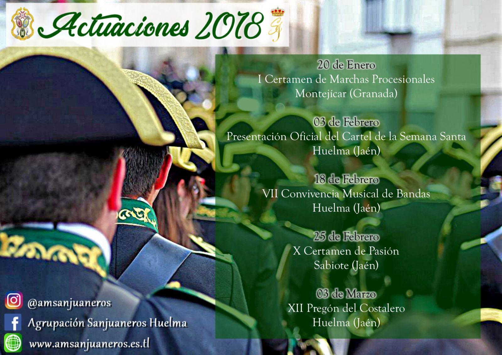 """ACTUACIONES DE LA AM """"SANJUANEROS"""" 2018"""