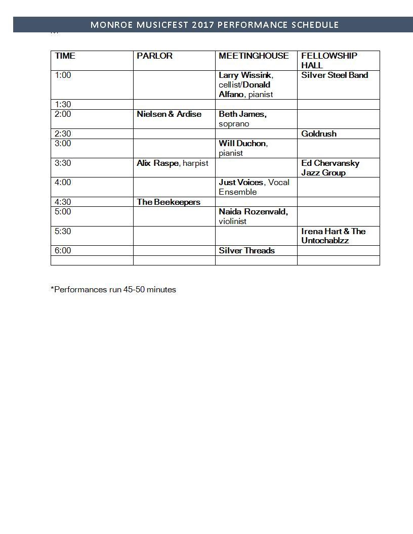 MusicFest 2017 Schedule