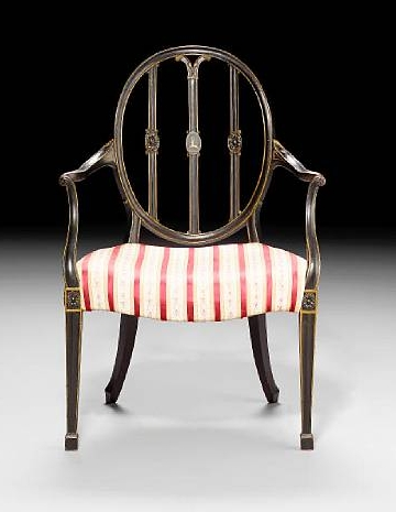 Hepplewhite syle chair, with distinctive shield-shaped back, made from mahogany, circa 1790.