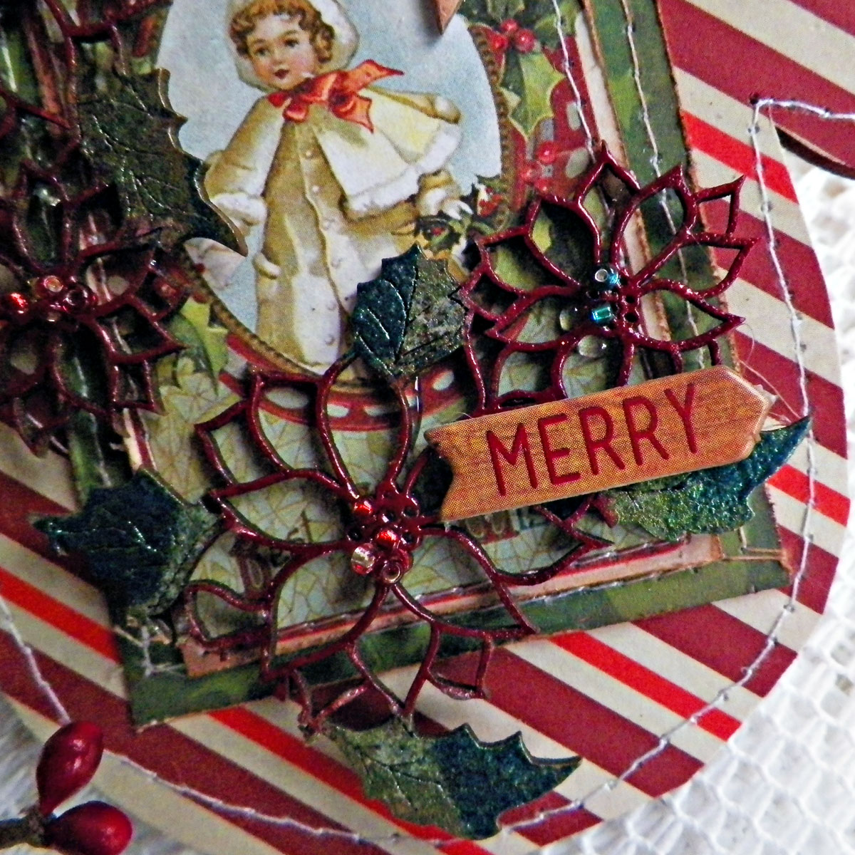 Merry Card Close Up by Lisa Novogrodski using BoBunny Christmas Collage  01