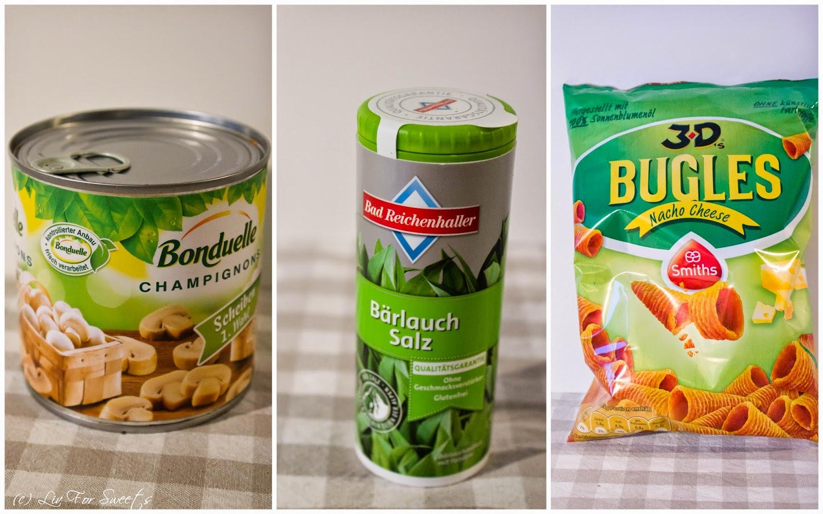 Bonduelle Champignons, Bad Reichenhaller Bärlauch Salz, Smiths Bugles