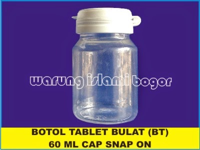 Jual Botol Bulat PET 60ml isi 30 Kapsul
