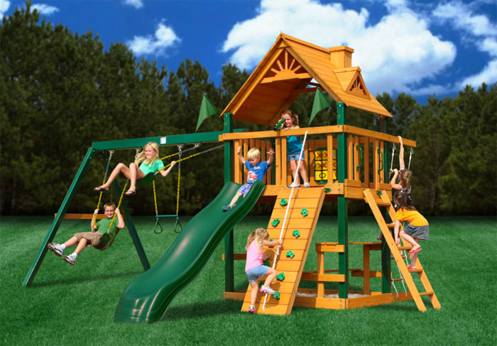 Super strong, heavy swing set includes a tire swing, separate monkey bars, wooden roof, large 5' high play deck, swing extension with 3 swings, slide, rock wall and so much more. More Info And Compare.