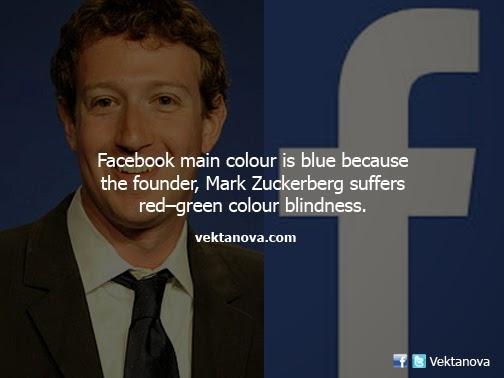 Mark Zuckerberg has red-green color blindness