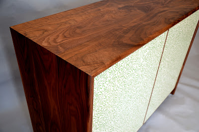 Sideboard in black walnut and Morris & Co fabric