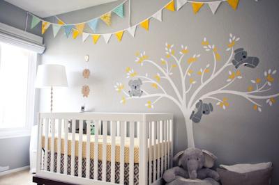dormitorio de bebe gris