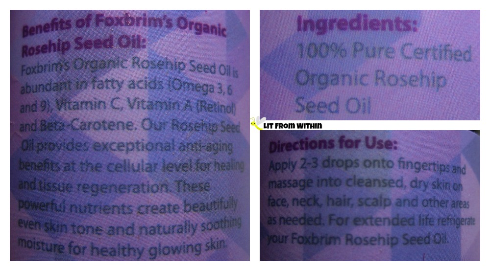 Foxbrim Rosehip Seed oil directions and ingredients.