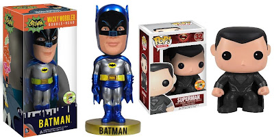 San Diego Comic-Con 2013 Exclusive Metallic Batman '66 Wacky Wobbler Bobble Head & Black Suited Superman Man of Steel Pop! Heroes Vinyl Figure by Funko