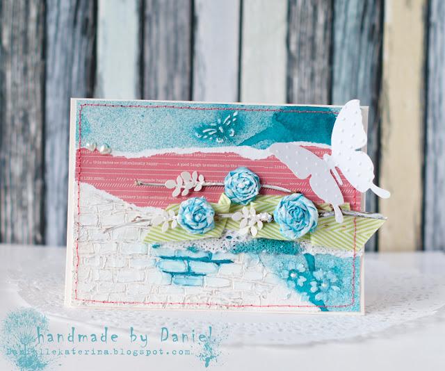 лифтинг открытки + весенняя открытка + текстурная паста