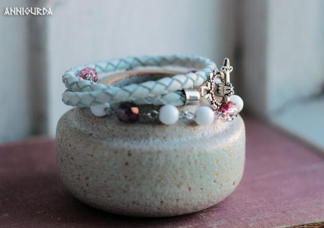 украшения, бижутерия, браслет, кожа, кожаный браслет, плетеный кожаный браслет, белый, розовый