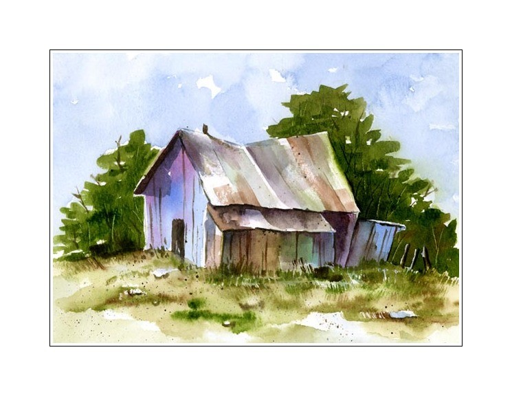 Sbwatercolors and sketching september 2011 for Watercolor barn paintings