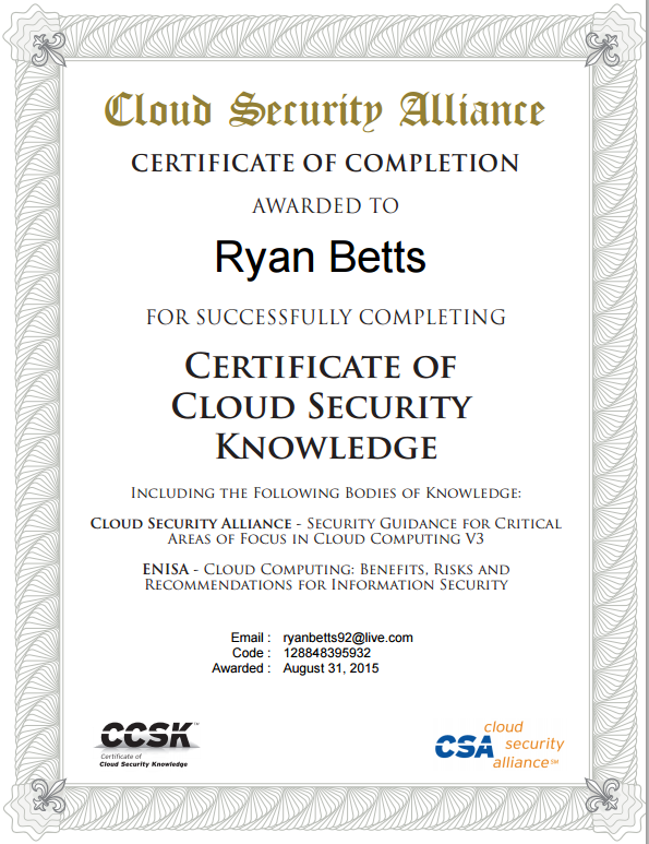 Ryan Betts, Cloud Solutions Architect: Cloud Security Alliance CCSK ...