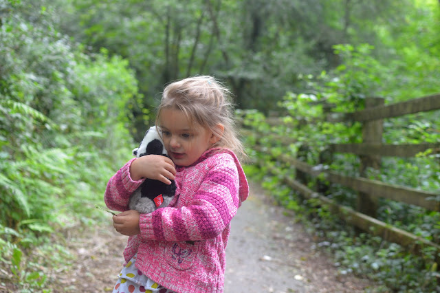 Autumn Woodland Walk Girl and Badger