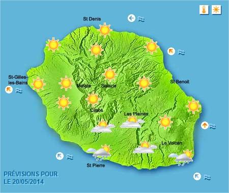 Prévisions météo Réunion pour le Mardi 20/05/14