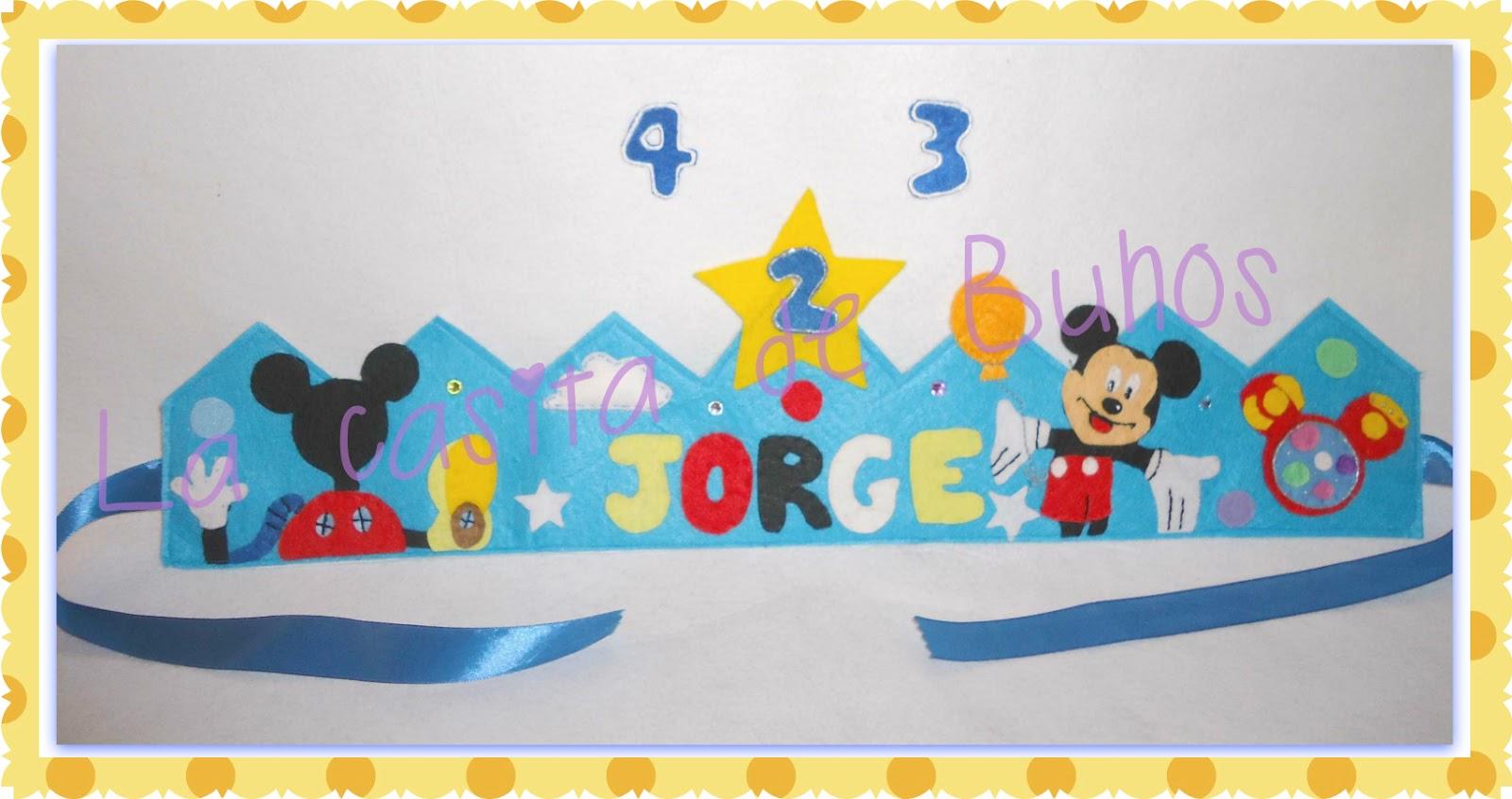 Corona de cumpleaños en fieltro - Mickey Mouse