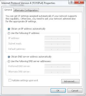 obtain an IP address automatically dan obtain DNS server address automatically